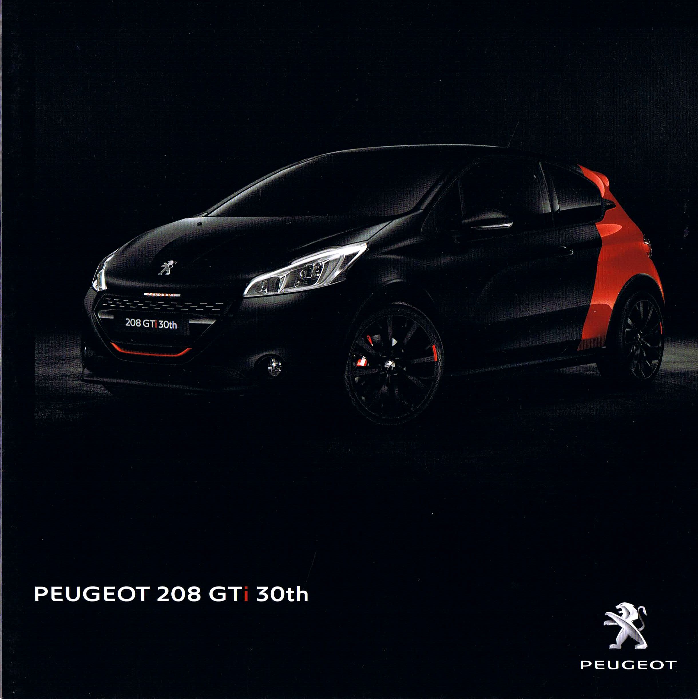 2017 peugeot 208 gti 30th brochure. Black Bedroom Furniture Sets. Home Design Ideas